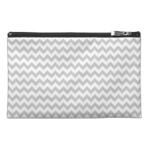 Grey Chevrons On White Bagette Travel Accessory Travel Accessory  Bag at Zazzle
