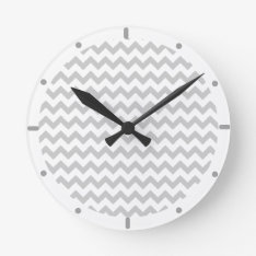 Grey Chevrons On White Wall Clock at Zazzle