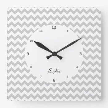 Grey Chevrons On White Wall Clock by DigitalDreambuilder at Zazzle