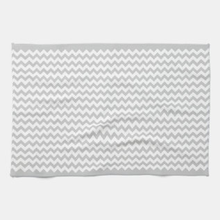Grey Chevrons On White Zig Zag Hand Towel at Zazzle