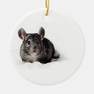 Grey Chinchilla Cute in Blanket Ceramic Ornament