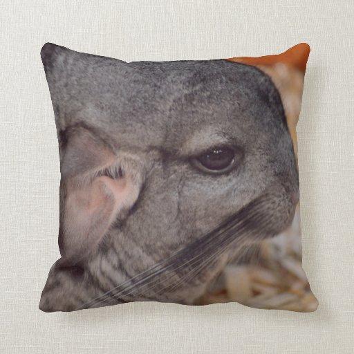 grey chinchilla side head view animal pillow Zazzle