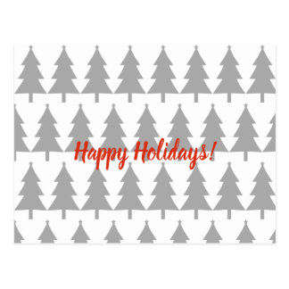 Grey Christmas Fir Trees Happy Holidays Postcard