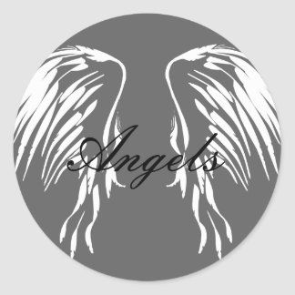 Grey circle with Angel wings, I believe in Angels Classic Round Sticker