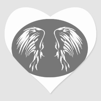 Grey circle with Angel wings, I believe in Angels Heart Sticker
