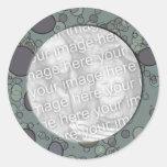 grey circles frame template classic round sticker