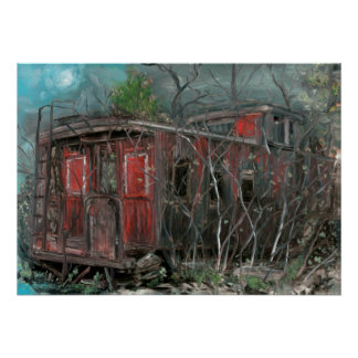 Grey Cloud Island Caboose Oil on Panel Poster