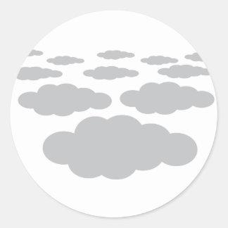 grey clouds weather classic round sticker