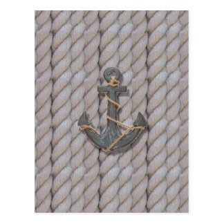 grey coastal beach rope nautical anchor postcard