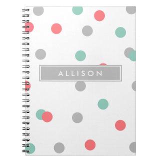 Grey Coral and Teal Polka Dot Monogram Notebook