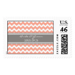Grey Coral Chevron Bride and Groom Wedding Stamps