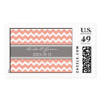 Grey Coral Chevron Bride and Groom Wedding Stamps