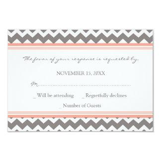 Grey Coral Chevron RSVP Wedding Card Invitation