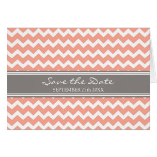 Grey Coral Chevron Save the Date Announcement
