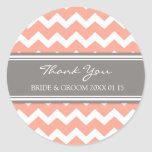 Grey Coral Chevron Thank You Wedding Favor Tags Classic Round Sticker