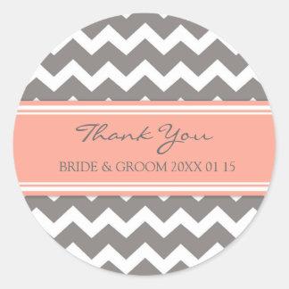 Grey Coral Chevron Thank You Wedding Favor Tags Classic Round Sticker