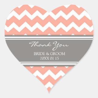 Grey Coral Chevron Thank You Wedding Favor Tags Heart Sticker