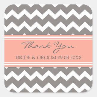 Grey Coral Chevron Thank You Wedding Favor Tags Square Sticker