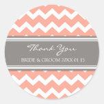 Grey Coral Chevron Thank You Wedding Favor Tags Round Sticker
