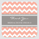 Grey Coral Chevron Thank You Wedding Favor Tags Stickers