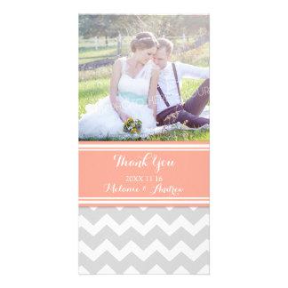 Grey Coral Chevron Thank You Wedding Photo Cards