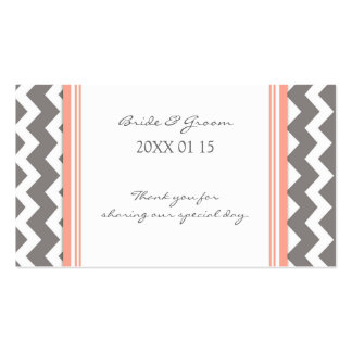 Grey Coral Chevron Wedding Favor Tags Double-Sided Standard Business Cards (Pack Of 100)