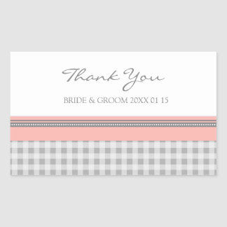 Grey Coral Gingham Thank You Wedding Favor Tags