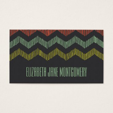 Professional Business Grey Coral Gold Chevron Modern Business Card