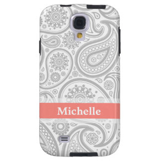 Grey Coral Paisley Monogram Galaxy S4 Case