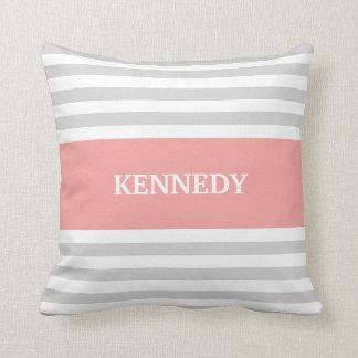 Grey Coral Stripes Monogram Throw Pillow