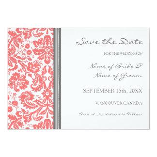 "Grey Coral Wedding Save the Date Card 5"" X 7"" Invitation Card"