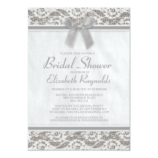Grey Country Lace Bridal Shower Invitations