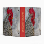 Grey Country Rooster Mini Binder