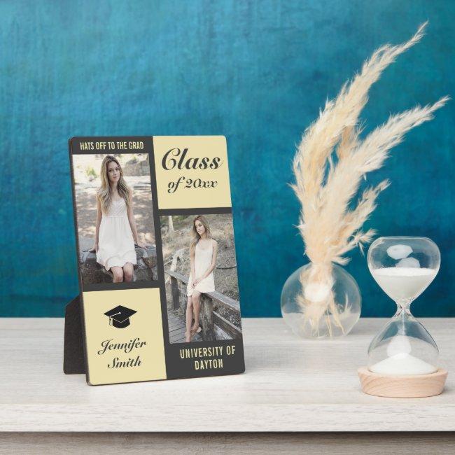 Grey Cream Modern Photo Graduation Plaque