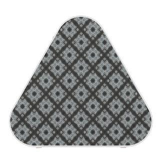 Grey crisscross bluetooth speaker
