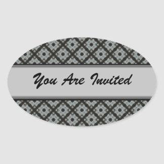Grey crisscross oval sticker