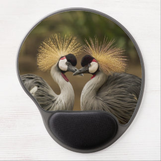 Grey Crowned Crane bird couple Gel Mouse Pad