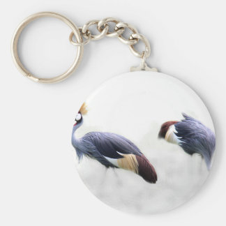 grey crowned crane bird wings feathers keychain