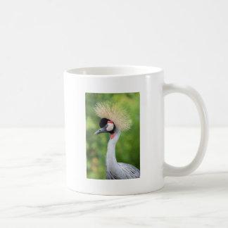 Grey crowned crane head and neck coffee mug