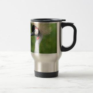 Grey crowned crane head and neck travel mug