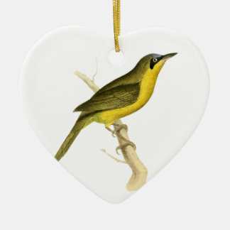 Grey-crowned Tanager Bird Illustration by William Ceramic Ornament