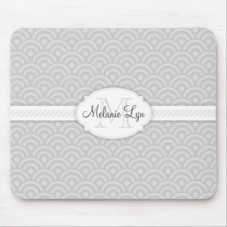 (Grey) Custom Monogram and Name Mouse Pad