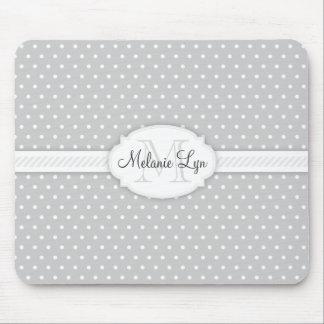 (Grey) Custom Monogram and Name Mouse Pad