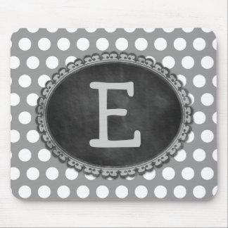 Grey Custom Monogram Chalkboard Frame Mouse Pad