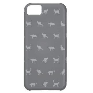 Grey Cute Cat Pattern iPhone 5C Cover