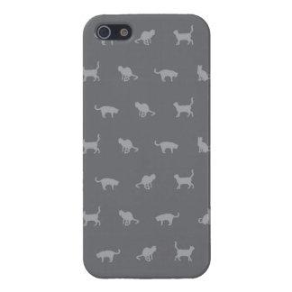 Grey Cute Cat Pattern iPhone 5 Cases