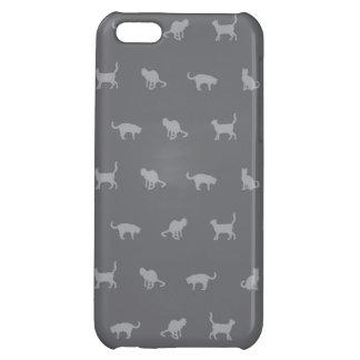 Grey Cute Cat Pattern iPhone 5C Cases