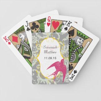 Grey Damask Fuchsia Sparrow  Wedding Playing Card