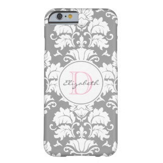 Grey Damask Monogrammed iPhone 6 Case