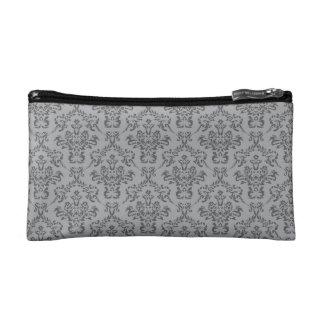 Grey Damask Pattern Makeup Bag